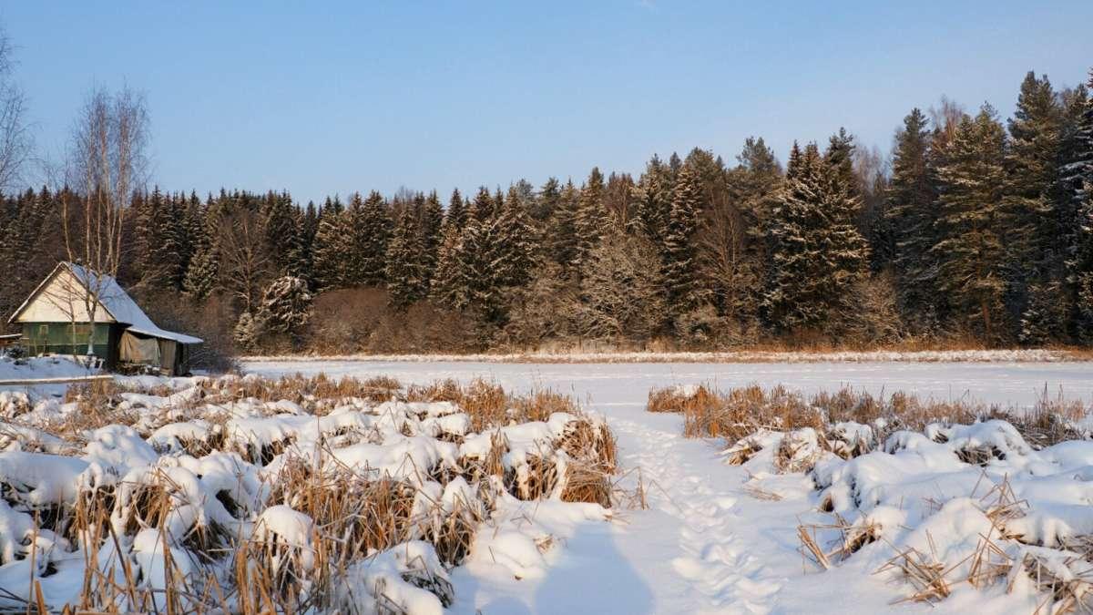 Смоленская зима (на снимке деревенская банька на берегу озера).