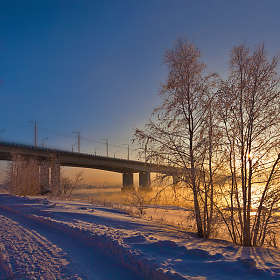 Зимнее солнце над Ангарой