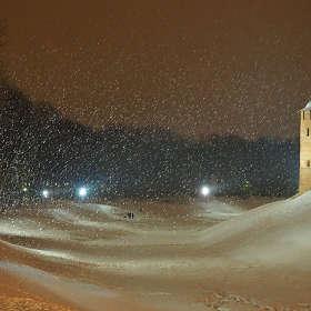 Великий Новгород. Вечер. Снег