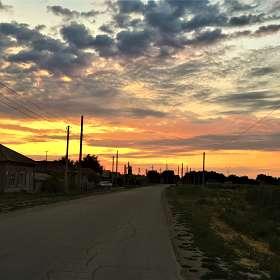 рассвет в деревне.